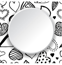 Hand drawn frame of hearts vector