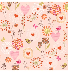 Hearts and flowers pattern vector image vector image