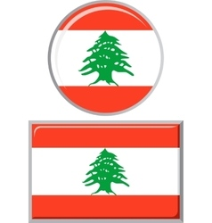 Lebanese round and square icon flag vector