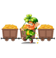 leprechaun with three carts of gold vector image vector image