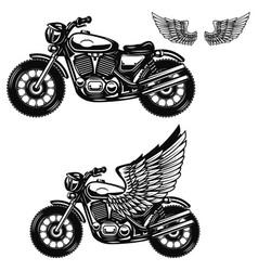 motorcycle on white background winged motorbike vector image vector image