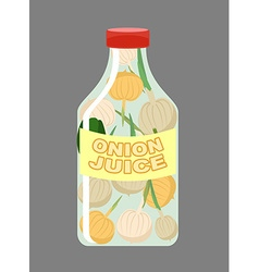 Onion juice juice from fresh vegetables onions in vector
