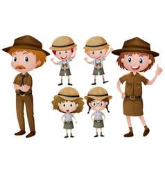 Park rangers in uniform vector