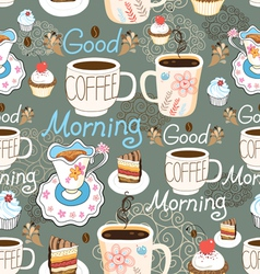 pattern delicious cup of coffee vector image vector image