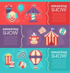 Retro circus banners with festival elements vector