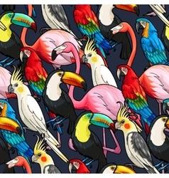 Seamless exotic birds vector