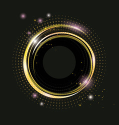 Thin golden frame with gold dust and lights vector