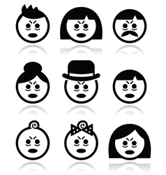 Tired or sick people faces icons set vector image vector image