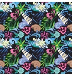 Tropical Pattern on Black vector image vector image