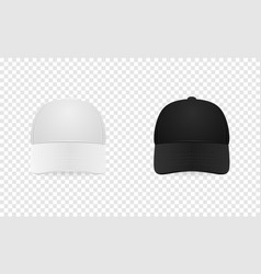 White and black baseball cap icon set front view vector