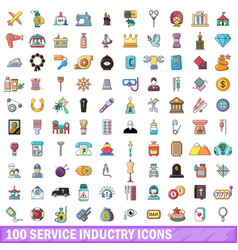 100 service industry icons set cartoon style vector