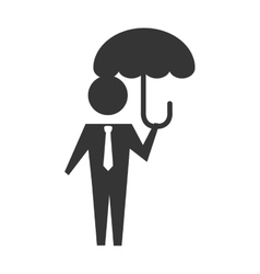 Man umbrella holding icon graphic vector