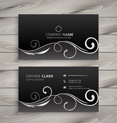 Floral dark business card vector