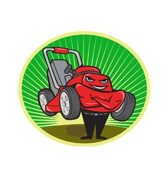 Lawn mower man cartoon oval vector