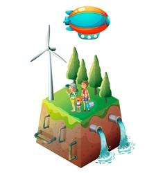 A family near a windmill vector image
