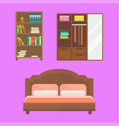 Furniture home decor icon set indoor cabinet vector