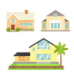 Cottage and assorted real estate building icons vector