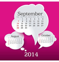 September 2014 bubble speech calendar vector