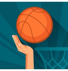 Sports hand shot basketball ball through hoop vector