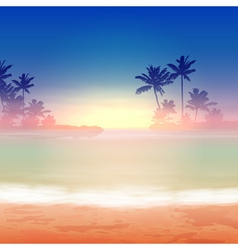 Sea sunset with palm trees vector