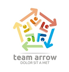 Abstract logo team arrow pentagon colorful symbol vector
