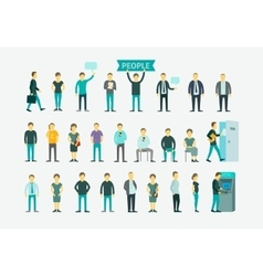 Set with people flat conception vector