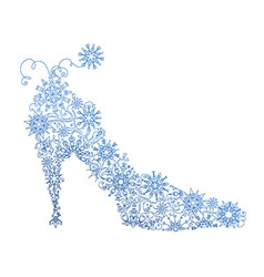 Abstract blue shoe of snowflakes vector