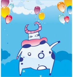 funky cow in the sky vector image