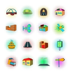 Urban infrastructure icons set pop-art style vector