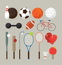 Sports equipment flat objects set vector