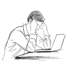 Hand sketch of a man working with computer vector