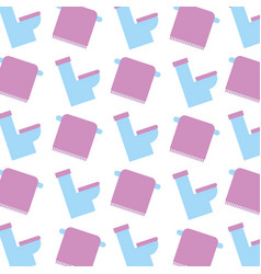 bathroom toilet and towel on rack seamless pattern vector image