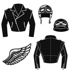 biker jacket motorcycle helmet wings design vector image