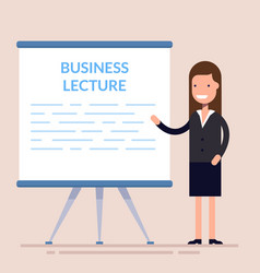 Businesswomen present with board cute woman vector