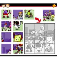 Cartoon robots jigsaw puzzle game vector