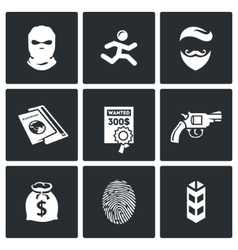 Criminal on the run and wanted icons set vector image vector image