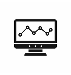 Graph in computer screen icon simple style vector image