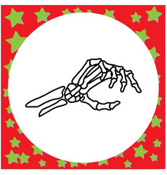 Hand drawn skeleton hand holding invisible card vector