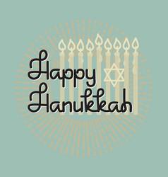 happy hanukkah handwritten word hanukkah candles vector image