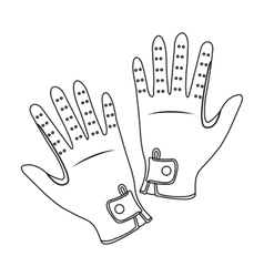 Jockey s gloves icon in outline style isolated on vector