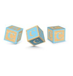 Letter c wooden alphabet blocks vector