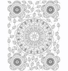mandala flower coloring for adults vector image