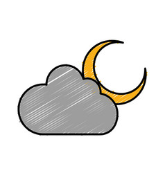 Moon and cloud icon vector