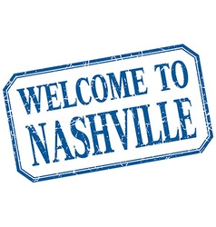 Nashville - welcome blue vintage isolated label vector