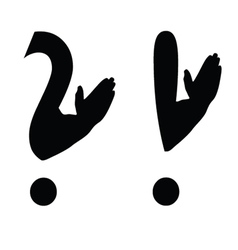 question mark with arms vector image