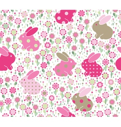 Rabbits flowers vector