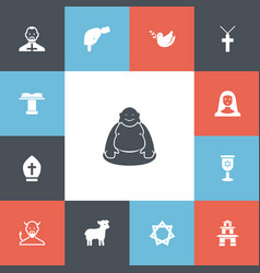 Set of 13 editable religion icons includes vector