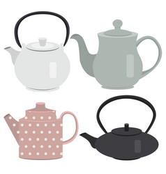 Set of icon tea pots vector