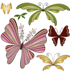 Set striped butterflies vector image vector image