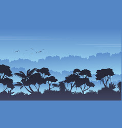 Silhouette of rain forest beauty landscape vector
